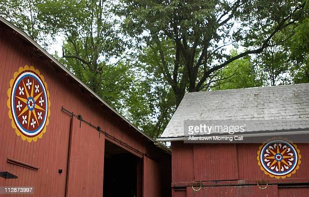 Hex signs folk art adorns barns in Pennsylvania Dutch country in Lancaster County