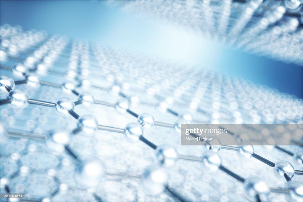 Hexagonal Grid Pattern Of Molecular Structure Of Graphene