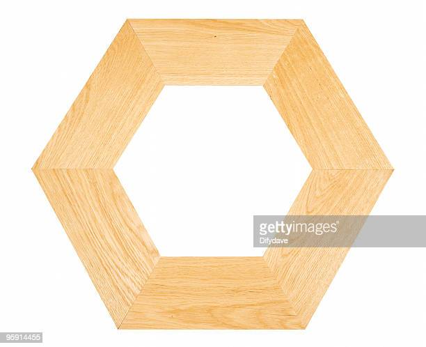 hexagonal oak frame - mitre stock pictures, royalty-free photos & images