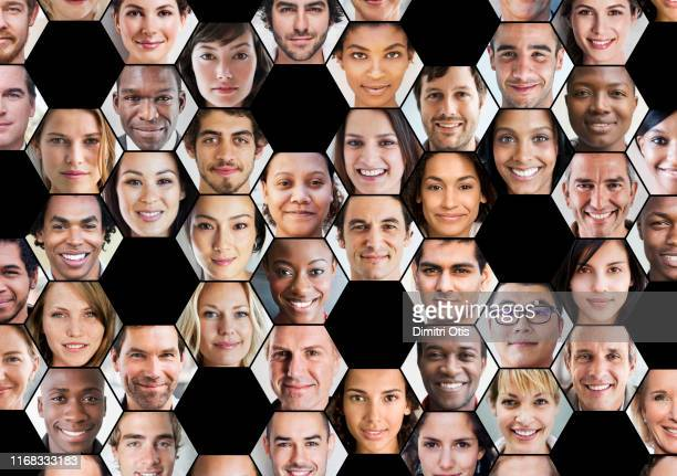 hexagonal portrait prints interconnected - human body part stock pictures, royalty-free photos & images