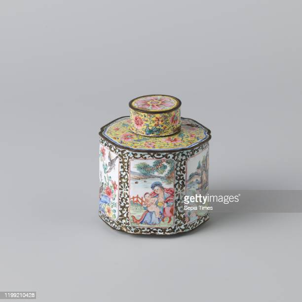 Hexagonal tea canister painted enamel Hexagonal tea canister with notched corners on three very low unglazed legs and with flat shoulders and round...