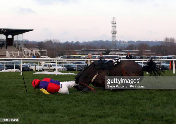 Hey Big Spender ridden by Aidan Coleman falls in The Hennessy Gold Cup at Newbury Racecourse Berkshire