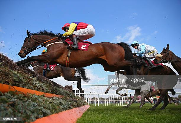 Hey Big Spender ridden by Brendan Powell clears a fence during The Bet At corbettsportscom Levy Board Handicap Steeple Chase at Haydock Racecourse on...