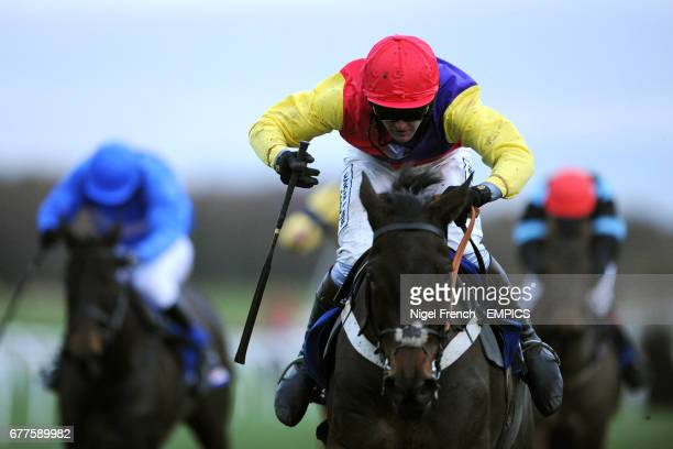 Hey Big Spender ridden by Jockey Joe Tizzard comes home to win the At The Races Rehearsal Chase