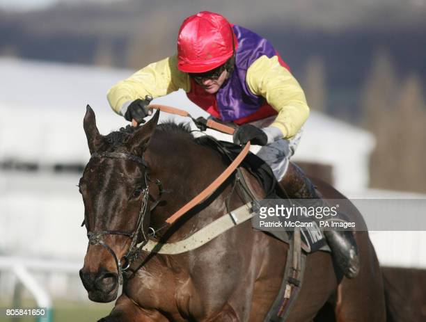 Hey Big Spender ridden by Joe Tizzard wins the Timeform Novices' Handicap Chase during the Festival Trials Day at Cheltenham Racecourse Cheltenham