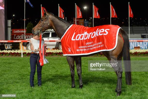 Hey Doc after winning the Ladbrokes Manikato Stakes at Moonee Valley Racecourse on October 27 2017 in Moonee Ponds Australia