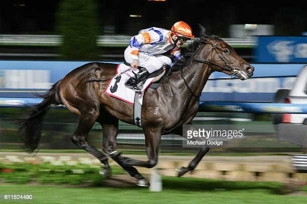 Hey Doc ridden by Luke Currie wins Strathmore Community Bank Stutt Stakes at Moonee Valley Racecourse on September 30 2016 in Moonee Ponds Australia