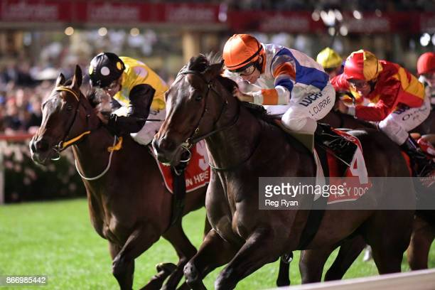 Hey Doc ridden by Luke Currie wins the Ladbrokes Manikato Stakes at Moonee Valley Racecourse on October 27 2017 in Moonee Ponds Australia