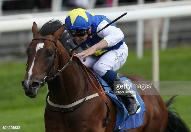 Hey Jonsey ridden by Kevin Stott wins The Get the Sky Bet Advantage Median Auction Novice Stakes at York Races on July 29 2017 in York England