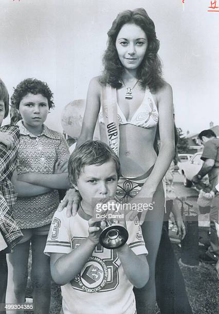 Hey My sister won Blowing a horn 5yearold Eric Althoff of Downsview precedes his sister Monica 17 after she was chosen Miss Ourland Bikini during an...