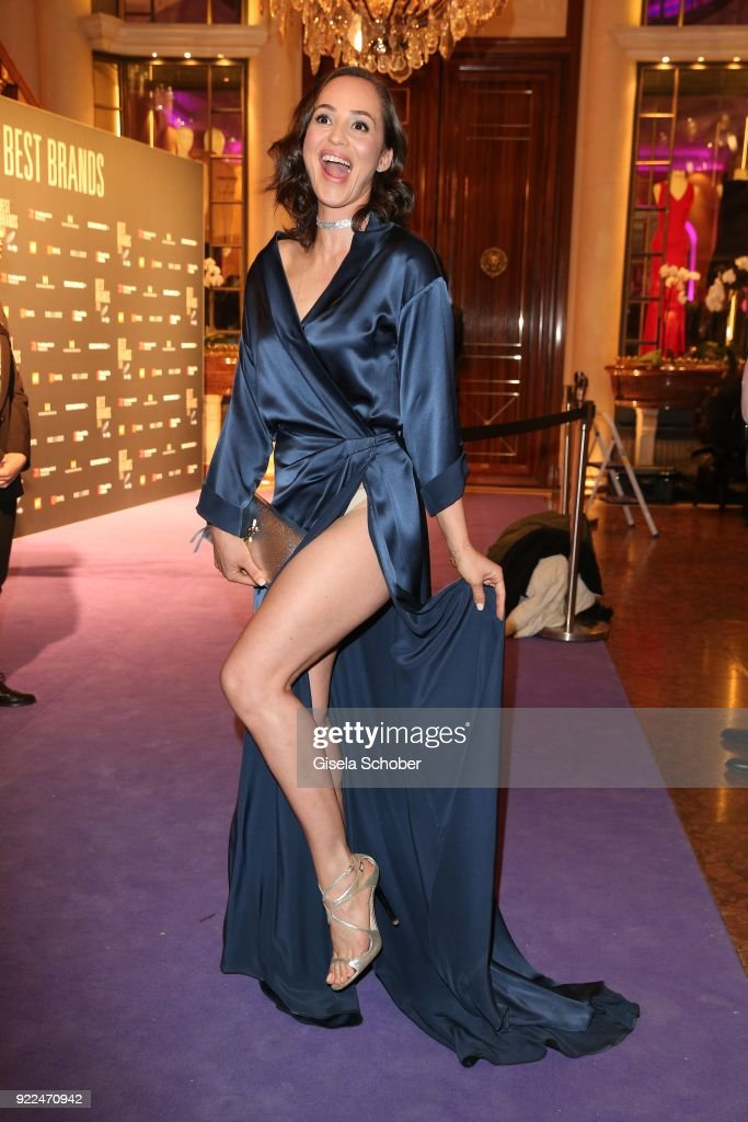 Heydi Nunez Gomez wearing a dress designed by herself during the 15th Best Brands Award 2018 on February 21, 2018 at Hotel Bayerischer Hof in Munich, Germany.