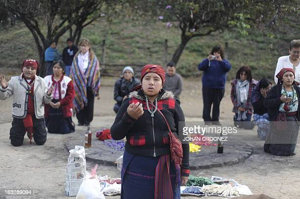 Heydy Farelo a Mayan shaman takes part in a Mayan ceremony celebrating the upcoming International Women's Day next March 8 in at the Kaminal Juyu...