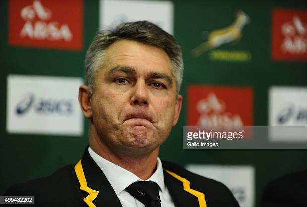 Heyneke Meyer during the South African national rugby team Homecoming at OR Tambo International Airport on November 03 2015 in Johannesburg South...