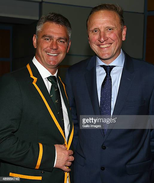 Heyneke Meyer of South Africa with Allan Donald former South African cricketer during the South African national rugby team official photograph at...