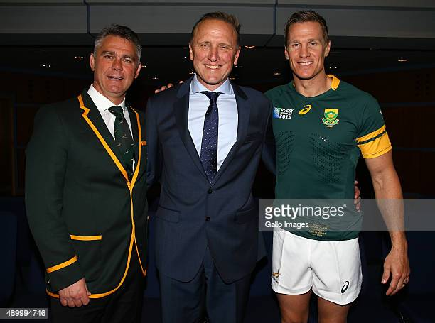 Heyneke Meyer of South Africa with Allan Donald former South African cricketer and Jean de Villiers during the South African national rugby team...