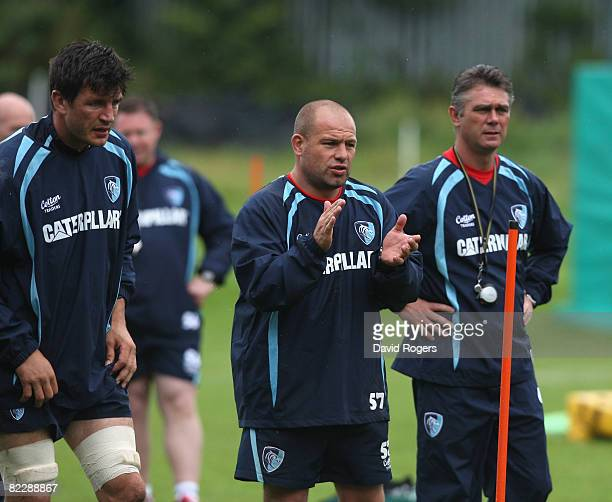 Heyneke Meyer, the Leicester Tigers Head Coach, with his assistant Richard Cockerill and team captain Martin Corry pictured during training at the...