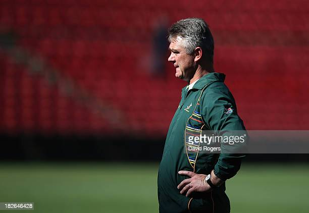 Heyneke Meyer the Springbok head coach looks on during the South Africa Springboks training session held at Ellis Park on October 2 2013 in...
