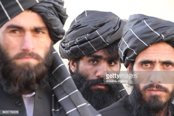 HezbeIslami prisoners are seen following their release from the PuleCharkhi prison by an order of outgoing Afghan Government in Kabul Afghanistan on...