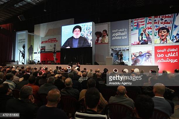 Hezbollah chief Hassan Nasrallah speaks via video conference in Beirut on April 17 2015 during a meeting in support of Yemeni people
