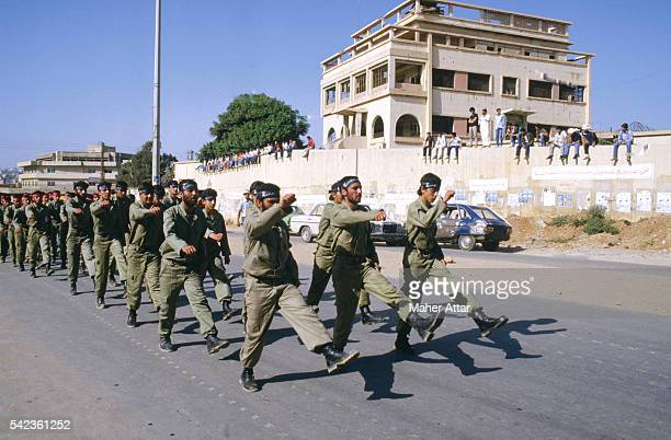 Hezbollah demonstrators in the streets of Ourai near Beirut | Location Ourai Lebanon