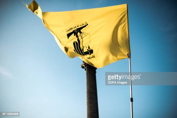 Hezbollah flag seen in Trafalgar Square during the demonstration. Hundreds of anti-Israel protesters marched through the streets on the annual Al...
