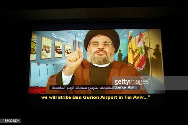Hezbollah leader Hassan Nasrallah is shown during an introduction video at the Resistance Museum, a showcase built by the Shi'ite militia group...