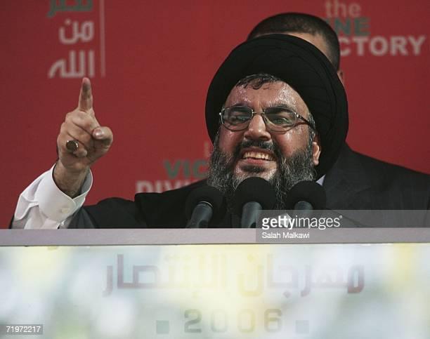 Hezbollah leader Sayyed Hassan Nasrallah speaks at a rally September 22, 2006 in Beirut, Lebanon. According to reports, Nasrallah said that Hezbollah...