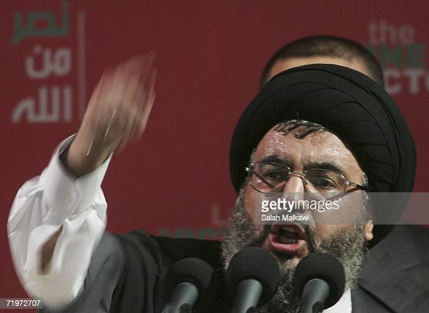 Hezbollah leader Sayyed Hassan Nasrallah speaks at a rally September 22 2006 in Beirut Lebanon According to reports Nasrallah said that Hezbollah...