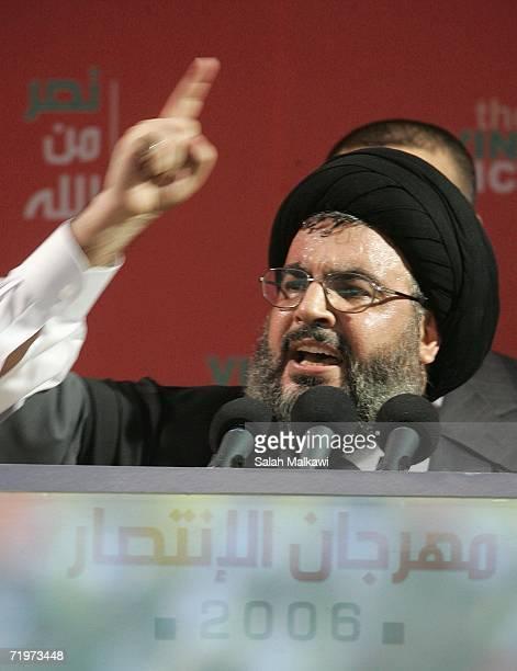 Hezbollah leader Sayyed Hassan Nasrallah speaks at a rally September 22, 2006 in Beirut, Lebanon. Nasrallah reportedly said that Hezbollah guerrillas...
