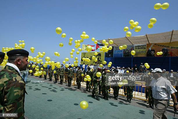 Hezbollah prepare to receive the bodies of 200 soldiers during an exchange of prisoners with Israel on July 16 2008 at Naqoura Lebanon Israel will...