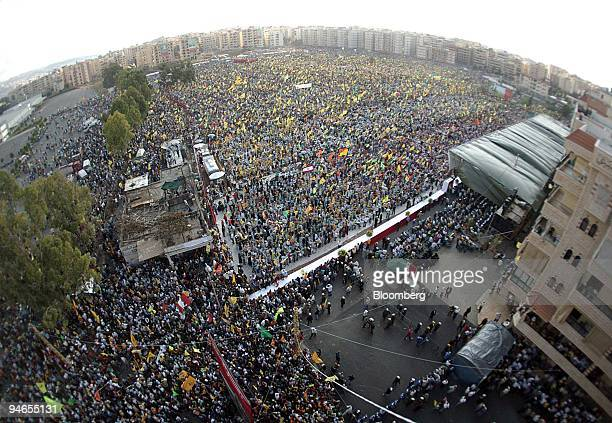 Hezbollah supporters gather for a rally of support for Hezbollah leader Hassan Nasrallah, in suburban Beirut , Lebanon, Friday, September 22, 2006....