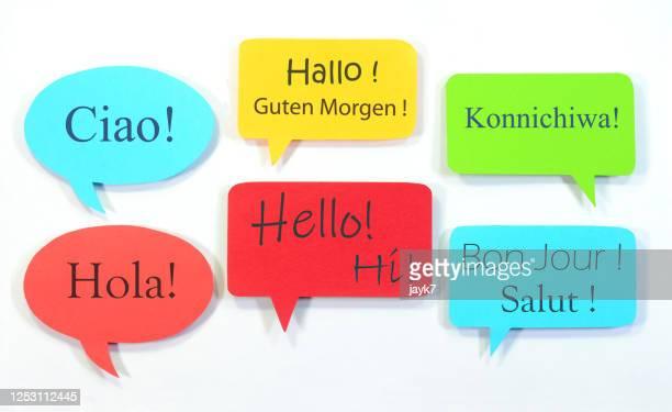 hi and hello signs - 言語 ストックフォトと画像