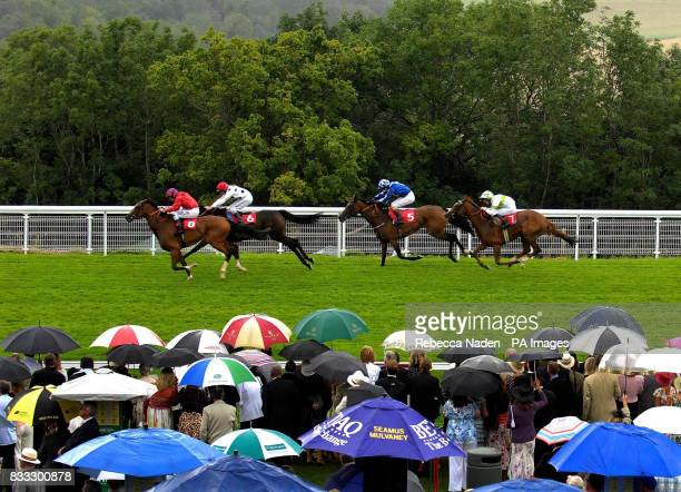 Hi Calypso ridden by Ryan Moore wins The Lillie Langtry Fillies' Stakes at Goodwood Racecourse