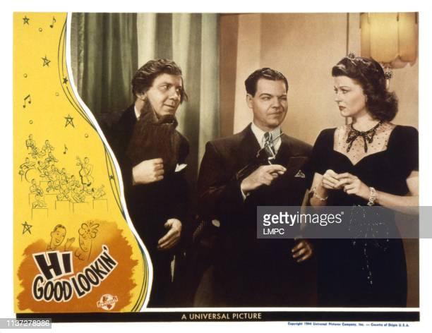 Hi GOOD LOOKIN US lobbycard from left Fuzzy Knight Eddie Quillan Harriet Hilliard 1944