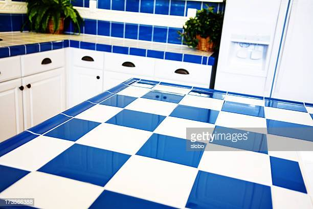 Hi Key Blue Chekered Kitchen
