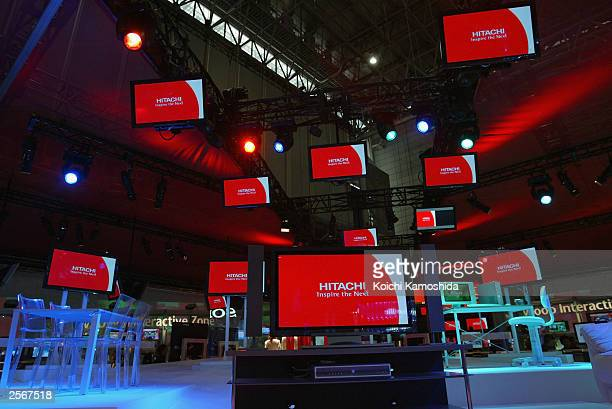 Hi Liquid Crystal TV's by Japan's Hitachi Ltd are on display during the CEATEC JAPAN 2003 technology trade exhibition on October 7 2003 in Makuhari...