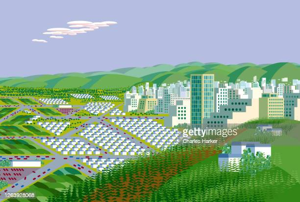 hi tech city digital illustration - silicon valley stock pictures, royalty-free photos & images
