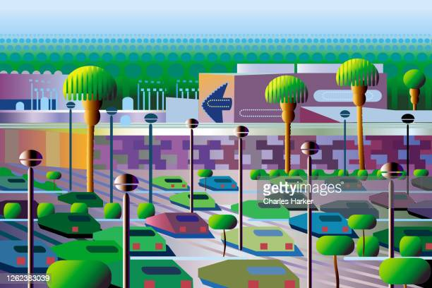hi tech office park mall illustration - finance and economy stock pictures, royalty-free photos & images