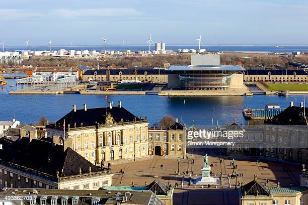 CONTENT] Hi views of Amalienborg Statue of King Frederick V Opera house and harbour Copenhagen Denmark Scandinavia Europe