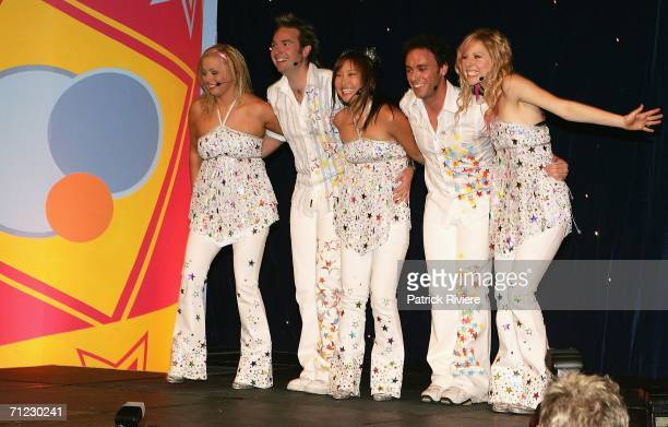 Hi5 cast members Kellie Hoggart Timothy Harding Sun Park Nathan Foley and Charli Delaney perform at the Powerhouse Museum on June 18 2006 in Sydney...