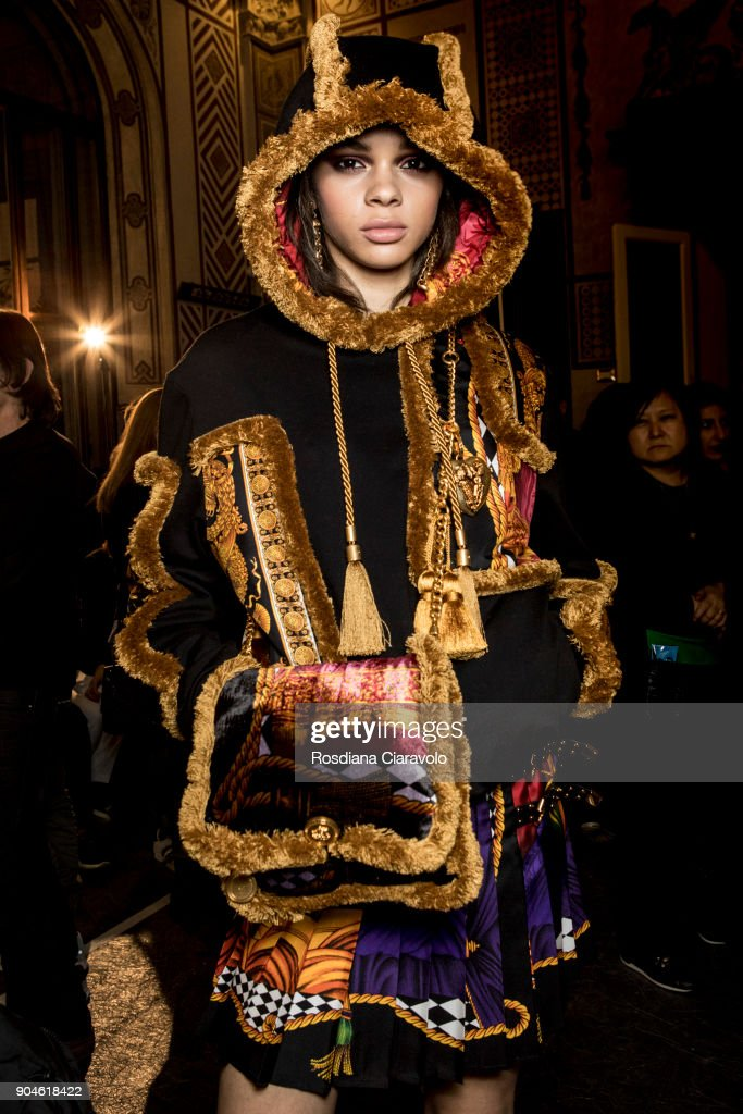 Hiandra Martinez is seen ahead of the Versace show during Milan Men's Fashion Week Fall/Winter 2018/19 on January 13, 2018 in Milan, Italy.