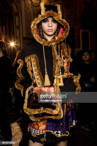 Hiandra Martinez is seen ahead of the Versace show during Milan Men's Fashion Week Fall/Winter 2018/19 on January 13 2018 in Milan Italy