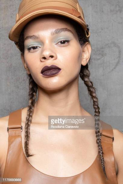 Hiandra Martinez poses during the backstage for Max Mara fashion show during the Milan Fashion Week Spring/Summer 2020 on September 19, 2019 in...
