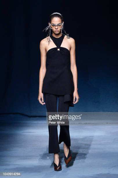 Hiandra Martinez walks the runway during the Givenchy show as part of the Paris Fashion Week Womenswear Spring/Summer 2019 on September 30 2018 in...