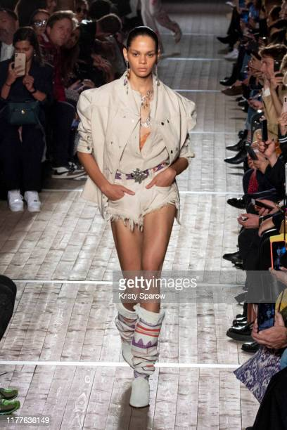 Hiandra Martinez walks the runway during the Isabel Marant Womenswear Spring/Summer 2020 show as part of Paris Fashion Week on September 26, 2019 in...