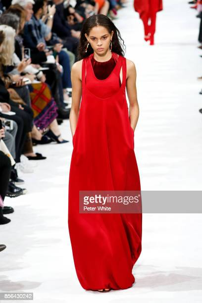 Hiandra Martinez walks the runway during the Valentino show as part of the Paris Fashion Week Womenswear Spring/Summer 2018 on October 1 2017 in...