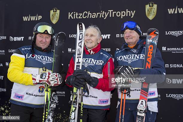 Hias Leitner Anderl Molterer and Bojan Krizaj pose for a picture during the KitzCharityTrophy on January 21 2017 in Kitzbuehel Austria