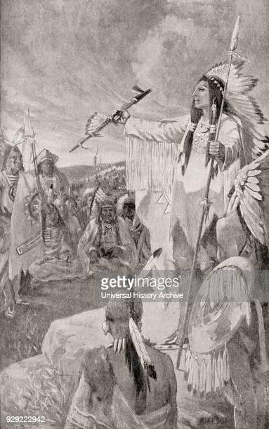 Hiawatha aka Ayenwatha Aiionwatha or Haiëñ'wa'tha Prehistorical Native American leader and cofounder of the Iroquois confederacy From The History of...