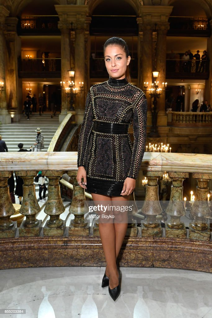 Hiba Abouk attends the Balmain show as part of the Paris Fashion Week Womenswear Spring/Summer 2018 on September 28, 2017 in Paris, France.