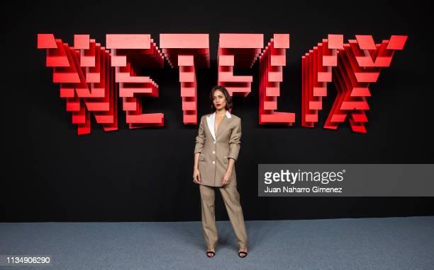 Hiba Abouk attends the red carpet during the Netflix presentation party at the Invernadero del Palacio de Cristal de la Arganzuela on April 4 2019 in...